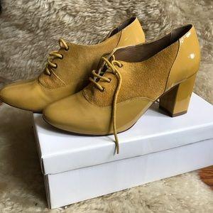 Anthropologie mustard block heel saddle shoes